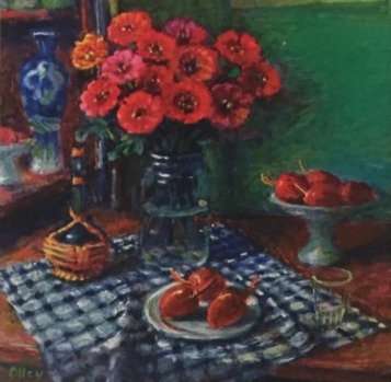 Margaret Olley, Zinnia and Tamarilos