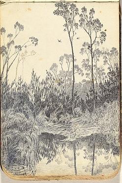 Emma Minnie Boyd Bushland with Pond, dra