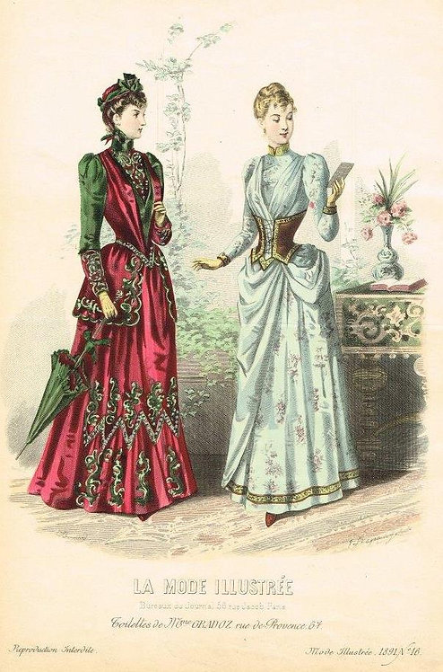 La Mode Illustree 1891 hand painted print