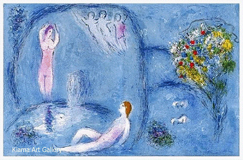 Chagall Daphnis and Chloe 1977 Print 320mm x 480mm Daphnis and Chloe in the Cave of Nymphs