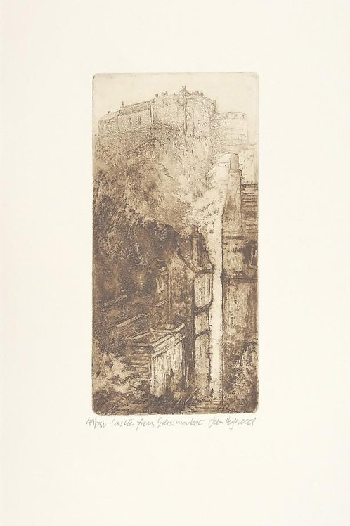 Jan Heywood, Castle View from Grass Market,  Etching 49/750