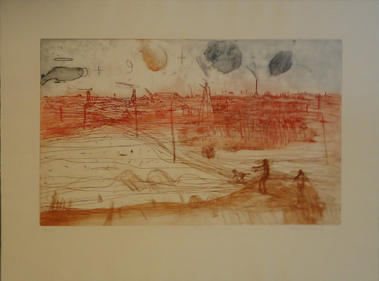 John Olsen - 'Old Golden Mile' Hand Coloured Etching