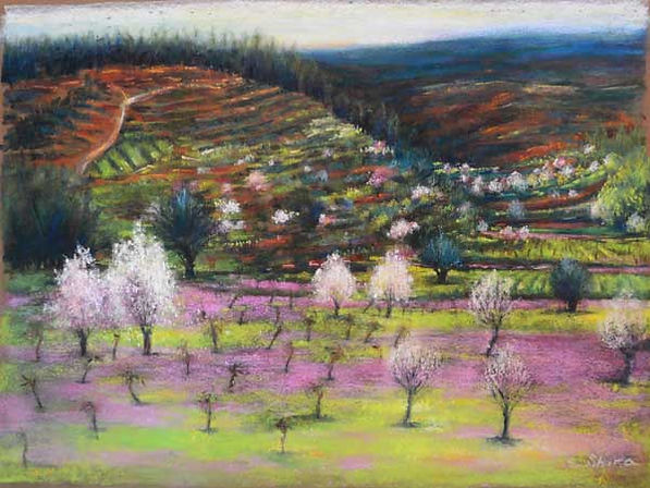 almond trees in field painting
