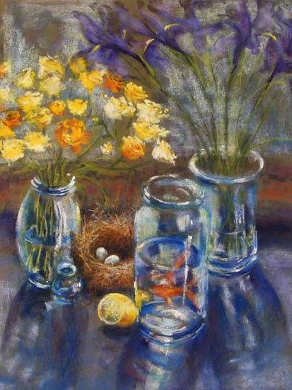 Goldfish and Iris - דגי זהב עם איריס