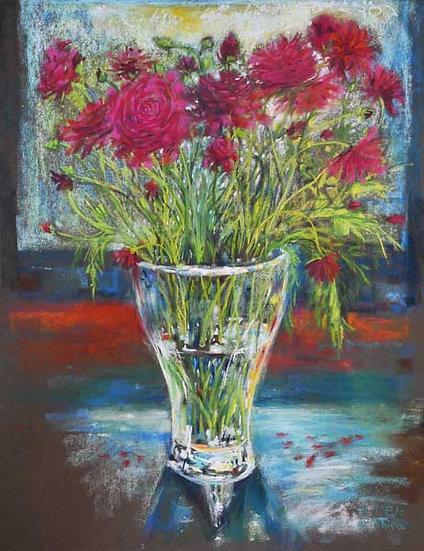 Pink Flowers and Glass - פרחים ורדים וזכוכית