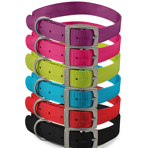 Ancol Heritage Nylon Metal Buckle Collar in Blue,Black,Red and Raspberry