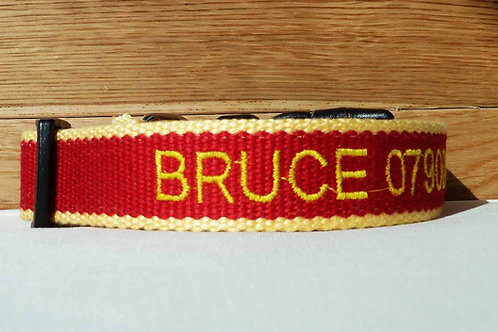 Personalised Eco Friendly Bamboo Collar Red