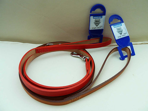 Heritage Leather Ancol 1m x 12mm Leads in Tan or Red. Matching Collar Available