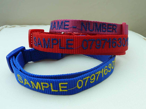 Ancol size 2-5 Nylon Adjustable Personalised Dog Collar, to fit neck 30cm - 50cm
