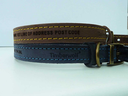 Size 3 28-36cm Personalised Ancol Premium Leather Collar Matching Lead Available