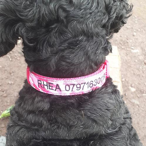 Ancol size 2-5 Camouflage  Nylon Adjustable Personalised Dog Collar.