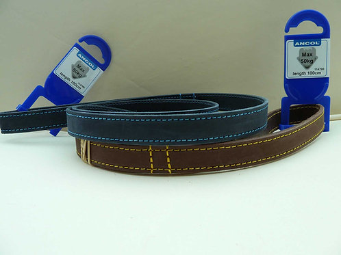 Timberwolf Leather 1m x 19mm Ancol Dog Lead Matching Collar Available Blue/Sable