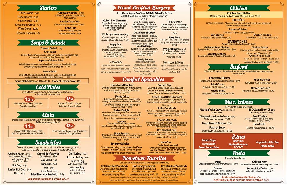 Cobleskill Diner Menu