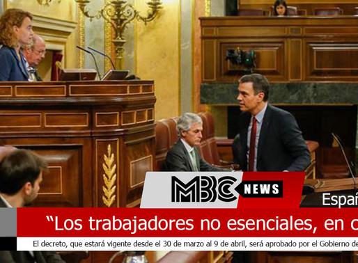 """España """"los trabajadores de actividades no esenciales en España tendrán que  quedarse en casa"""""""