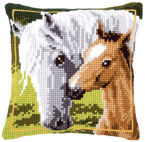VERVACO Cross Stitch Cushion Kit White Horse and Her Foal - PN-0144668