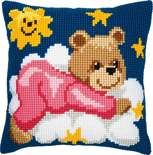 VERVACO Cross Stitch Cushion Kit Pink Bear on a Cloud - PN-0008574