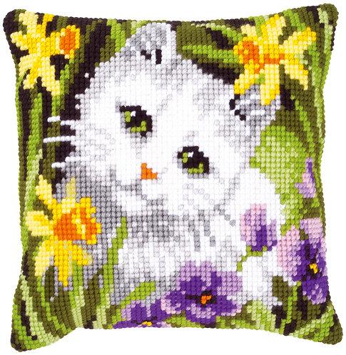 VERVACO Cross Stitch Cushion Kit White Cat in Daffodils - PN-0147362