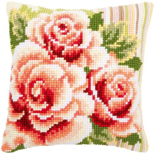 VERVACO Cross Stitch Cushion Kit Pink Roses - PN-0147148