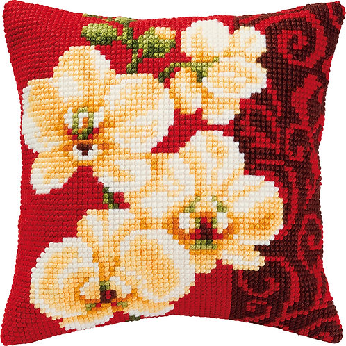 VERVACO CROSS STITCH CUSHION KIT WHITE ORCHIDS PN-0008790
