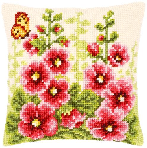 VERVACO Cross Stitch Cushion Kit Hollyhocks - PN-0143709