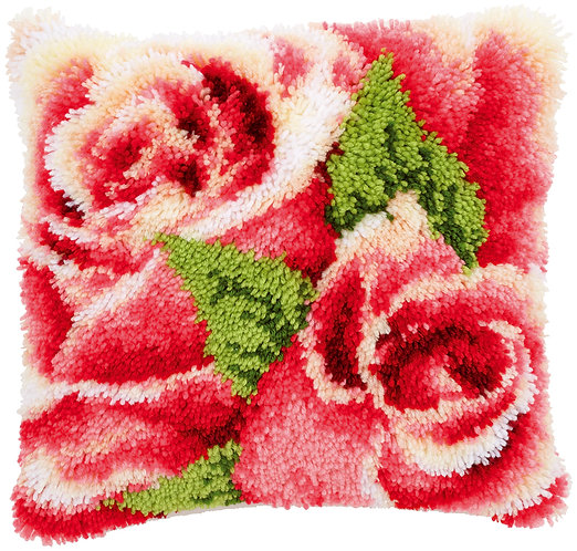 VERVACO Latch Hook Cushion Kit Pink Rose and Rosebud - PN-0145445