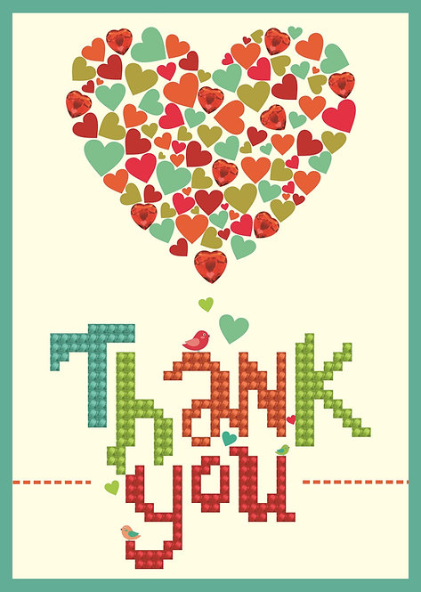 Diamond Dotz Greeting Card - Thank You Heart (DDG.005)