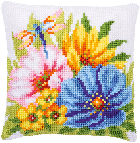 VERVACO Cross Stitch Cushion Kit Colourful Spring Flowers - PN-0184985