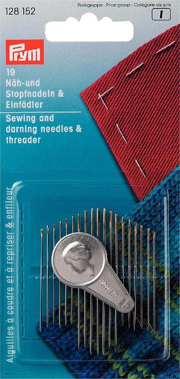PRYM Sewing Darning Needles & Threader- 128152