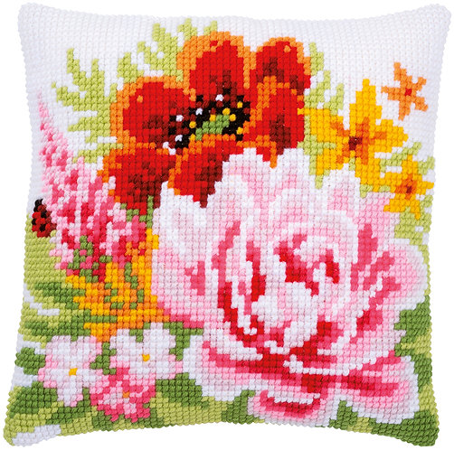 VERVACO Cross Stitch Cushion Kit Colourful Flowers - PN-0184990