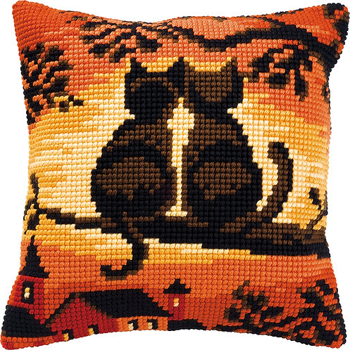 VERVACO Cross Stitch Cushion Kit Cats on a Branch - PN-0008662