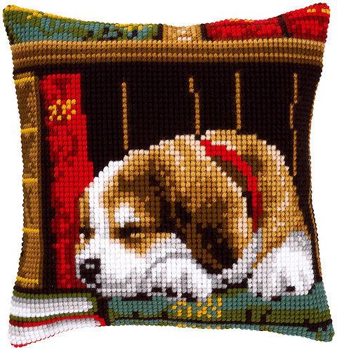 VERVACO Cross Stitch Cushion Kit Dog Sleeping on books - PN-0148118