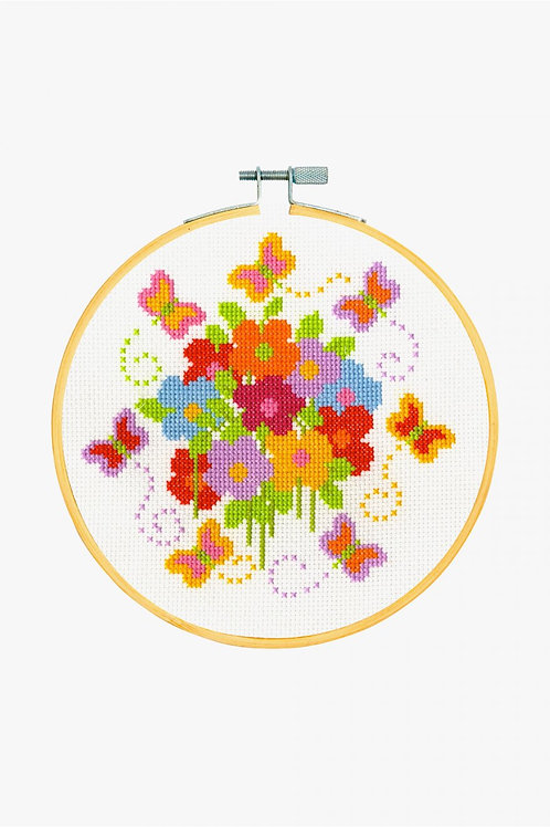 DMC Cross-Stitch Hoop Fluttering Butterflies BK1851