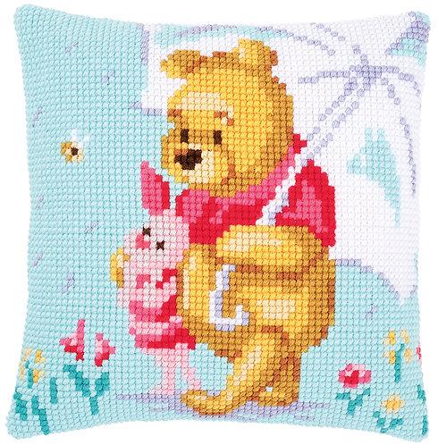 VERVACO Cross Stitch Cushion Kit Disney Winnie in the Rain - PN-0172780