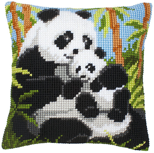 VERVACO Cross Stitch Cushion Kit Panda Family - PN-0008513