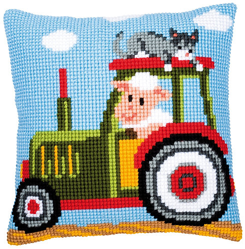VERVACO Cross Stitch Cushion Kit Tractor - PN-0008483