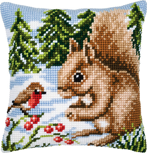 VERVACO Cross Stitch Cushion Kit Squirrel in the Snow - PN-0008667