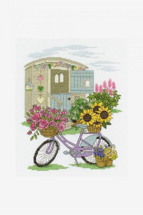 DMC Cross-Stitch Kit Floral Bicycle BK1549