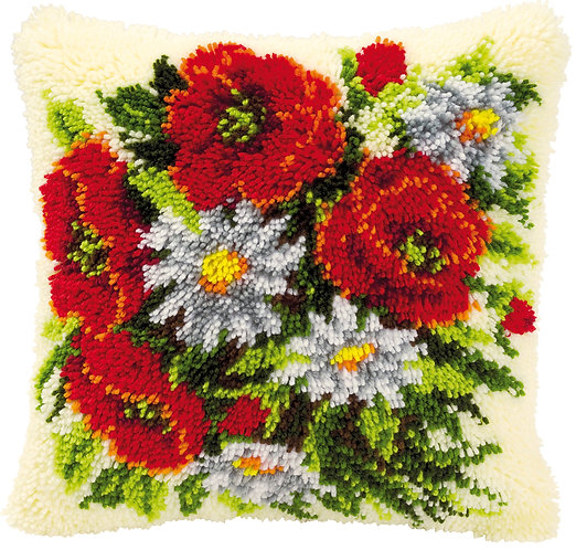 VERVACO Latch Hook Cushion Kit Roses and Daisies - PN-0014142