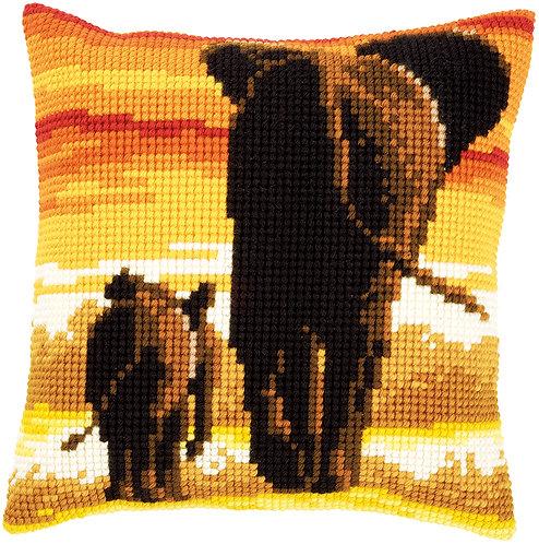 VERVACO Cross Stitch Cushion Kit Elephants - PN-0162254