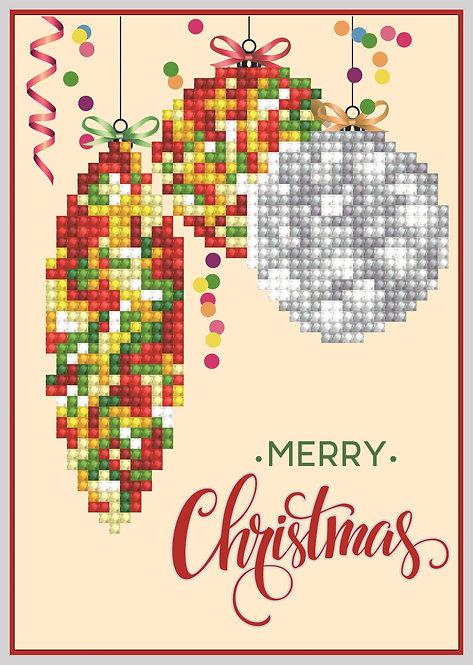 Diamond Dotz Greeting Card - Merry Christmas Bauble Trad (DDG.010)