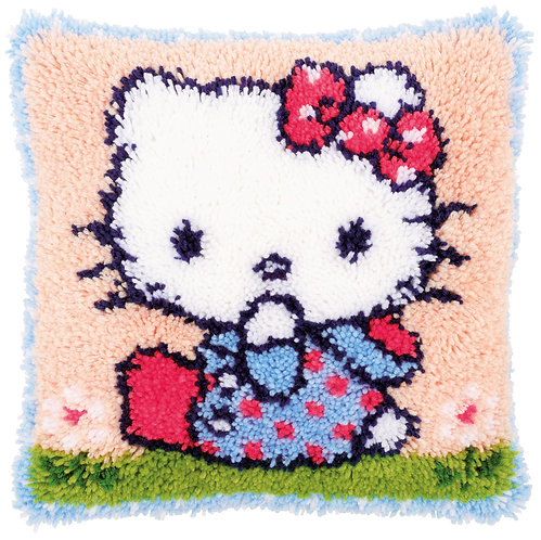 VERVACO Latch Hook Cushion Kit Hello Kitty on the Grass - PN-0156306