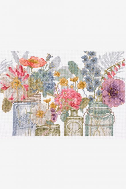 DMC Cross-Stitch Kit Flowers in Jars  BL1167/76
