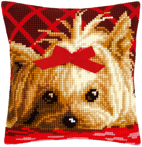 VERVACO Cross Stitch Cushion Kit Yorkshire with Bow - PN-0146989