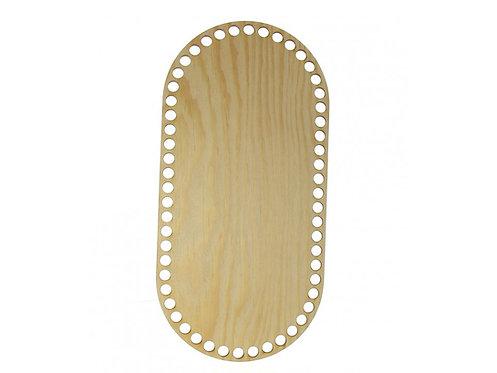 Wood Bottom on Crocheted Basket-Pine Oval 60x40cm