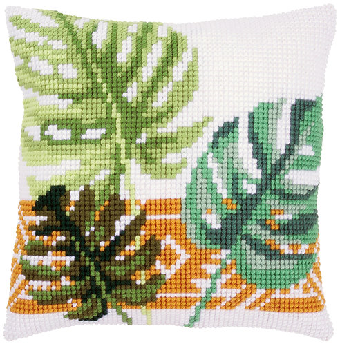 VERVACO Cross Stitch Cushion Kit Botanical Leaves - PN-0165496