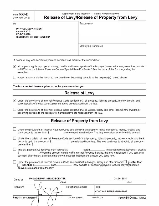 Sample IRS 668-D Release of Levy Notice