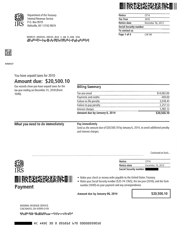IRS CP14 Notice of Unpaid Taxes example