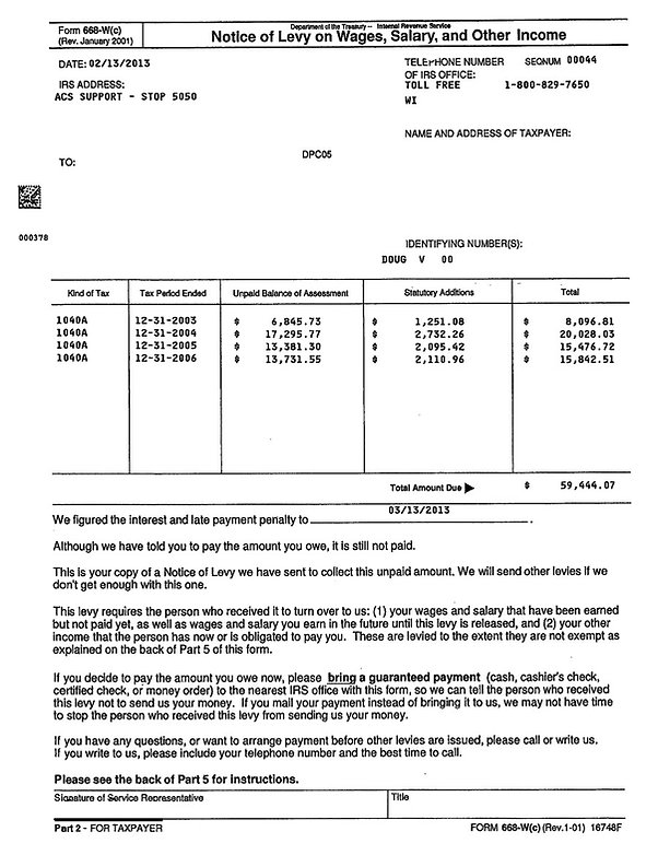 Sample IRS 668-W Notice of levy on wages, salary and other income