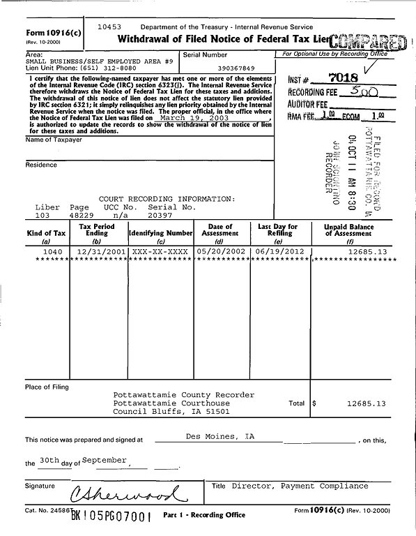 Sample IRS 10916 Withdrawal of Filed Federal Tax Lien