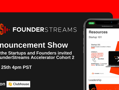 FounderStreams Accelerator is announcing Cohort 2 this Friday